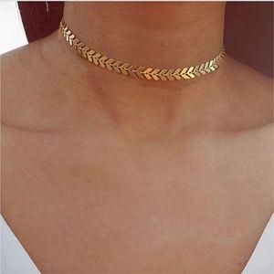 Golden Chevron Choker layering Necklace Gold